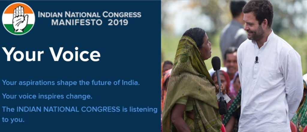 Congress Party Manifesto 2019- Launch Manifesto Website@manifesto.inc.in