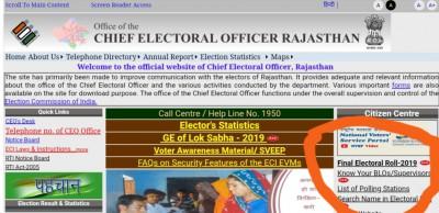 [सूची] राजस्थान वोटर लिस्ट 2019- Rajasthan Voter List Pdf@www.ceorajasthan.nic.in