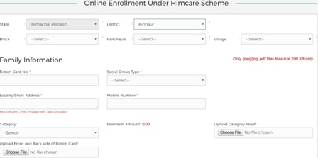 Himachal Health Care Scheme Enrollment Form Part A