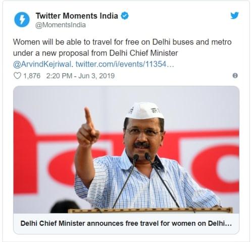 Delhi Free Bus Metro Travel Scheme