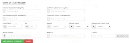 Add Family Member in Samagra ID Portal
