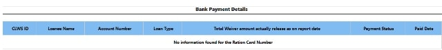 CLWS Bank Payment Details